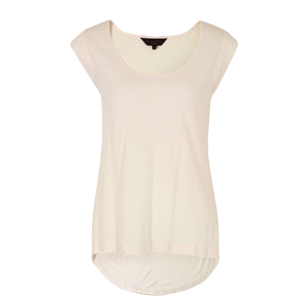 J6 Bv9 Track & Field Pavlova Slouchy Tee - neckline: round neck; sleeve style: capped; pattern: plain; style: t-shirt; predominant colour: ivory/cream; occasions: casual; length: standard; fibres: cotton - mix; fit: straight cut; back detail: longer hem at back than at front; sleeve length: short sleeve; pattern type: fabric; texture group: jersey - stretchy/drapey; season: s/s 2013