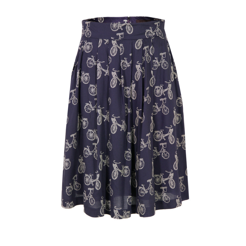 J3 An9 Velo Bike Print Damsel Tulle Skirt - fit: loose/voluminous; waist: high rise; predominant colour: navy; occasions: casual, holiday; length: just above the knee; style: a-line; fibres: polyester/polyamide - 100%; hip detail: soft pleats at hip/draping at hip/flared at hip; waist detail: narrow waistband; texture group: sheer fabrics/chiffon/organza etc.; trends: statement prints; pattern type: fabric; pattern: patterned/print; season: s/s 2013; pattern size: standard (bottom)