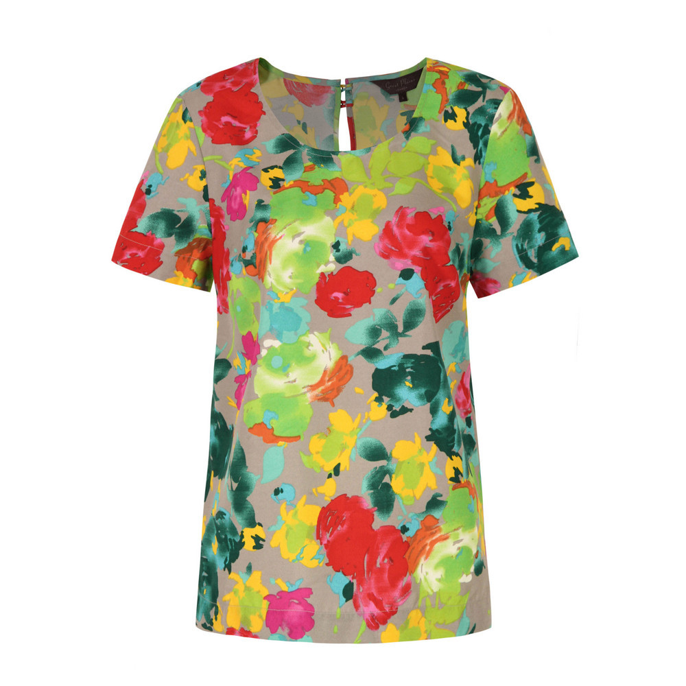 J2 Ab9 Artists Roses Kiki Print T Shirt - neckline: round neck; style: t-shirt; occasions: casual, work, holiday; length: standard; fibres: polyester/polyamide - 100%; fit: straight cut; back detail: keyhole/peephole detail at back; predominant colour: multicoloured; sleeve length: short sleeve; sleeve style: standard; trends: high impact florals, statement prints; pattern type: fabric; pattern: florals; texture group: jersey - stretchy/drapey; season: s/s 2013; pattern size: big & busy (top); multicoloured: multicoloured