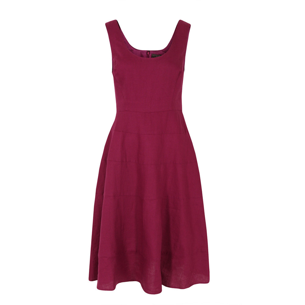 J1 Cn9 Sandbanks Linen Tiered Rosanna Dress - length: below the knee; sleeve style: standard vest straps/shoulder straps; pattern: plain; waist detail: fitted waist; predominant colour: burgundy; occasions: casual, evening, holiday; fit: fitted at waist & bust; style: fit & flare; neckline: scoop; fibres: linen - 100%; hip detail: subtle/flattering hip detail; sleeve length: sleeveless; texture group: linen; pattern type: fabric; season: s/s 2013