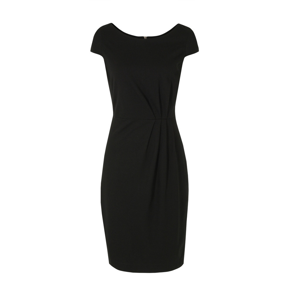 J1 Ce9 Madison Jersey Gather Detail Black Dress - style: shift; neckline: round neck; sleeve style: capped; fit: tailored/fitted; pattern: plain; waist detail: twist front waist detail/nipped in at waist on one side/soft pleats/draping/ruching/gathering waist detail; bust detail: ruching/gathering/draping/layers/pintuck pleats at bust; predominant colour: black; occasions: casual, evening, work, occasion; length: on the knee; fibres: polyester/polyamide - stretch; hip detail: soft pleats at hip/draping at hip/flared at hip; sleeve length: short sleeve; trends: glamorous day shifts; pattern type: fabric; texture group: jersey - stretchy/drapey; season: s/s 2013