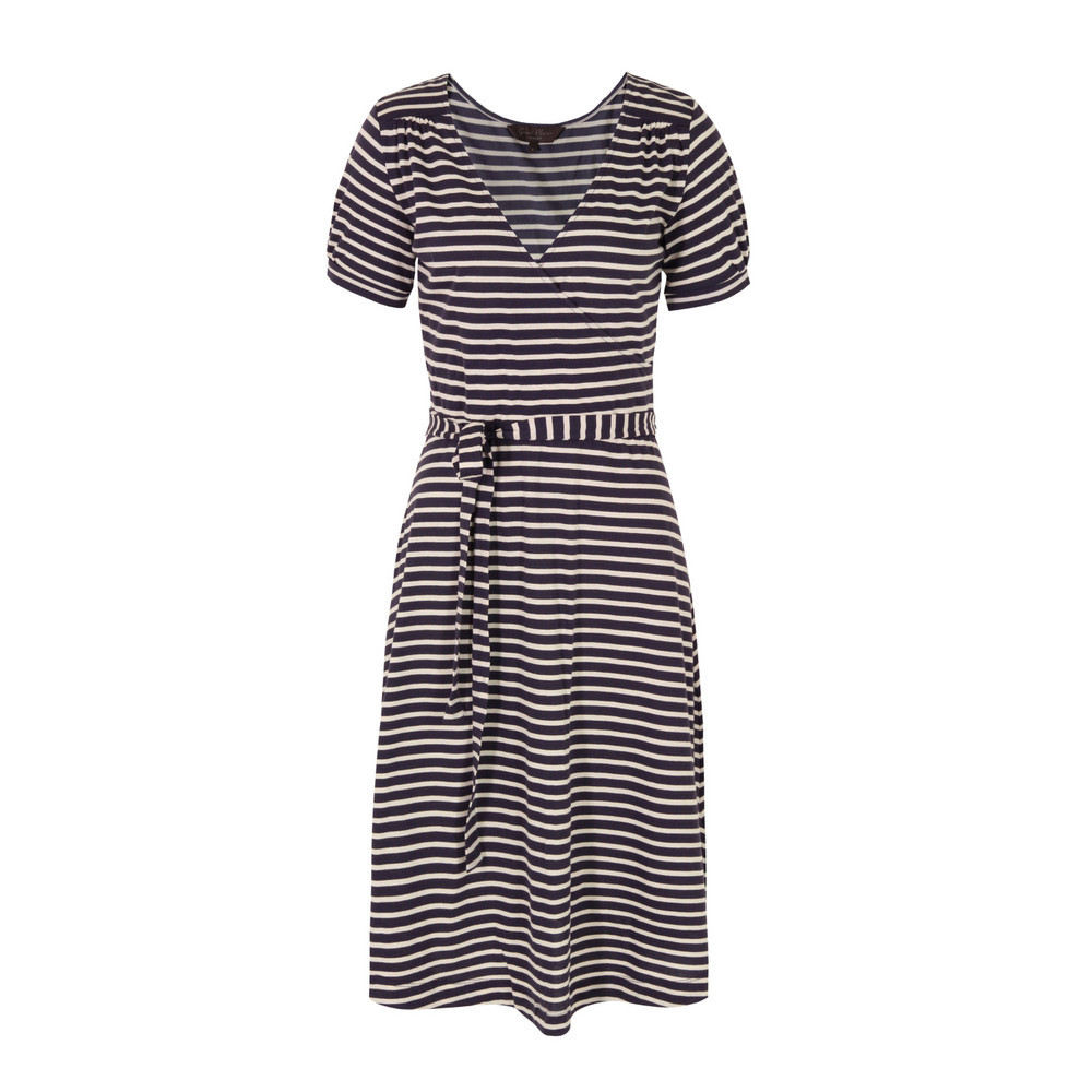 J1 Bg9 Cambridge Damsel Tulle Stripe Wrap Dress - style: faux wrap/wrap; length: below the knee; neckline: low v-neck; sleeve style: puffed; fit: fitted at waist; pattern: horizontal stripes; waist detail: belted waist/tie at waist/drawstring; predominant colour: navy; occasions: casual; fibres: cotton - 100%; hip detail: subtle/flattering hip detail; shoulder detail: subtle shoulder detail; sleeve length: short sleeve; pattern type: fabric; pattern size: standard; texture group: jersey - stretchy/drapey; season: s/s 2013