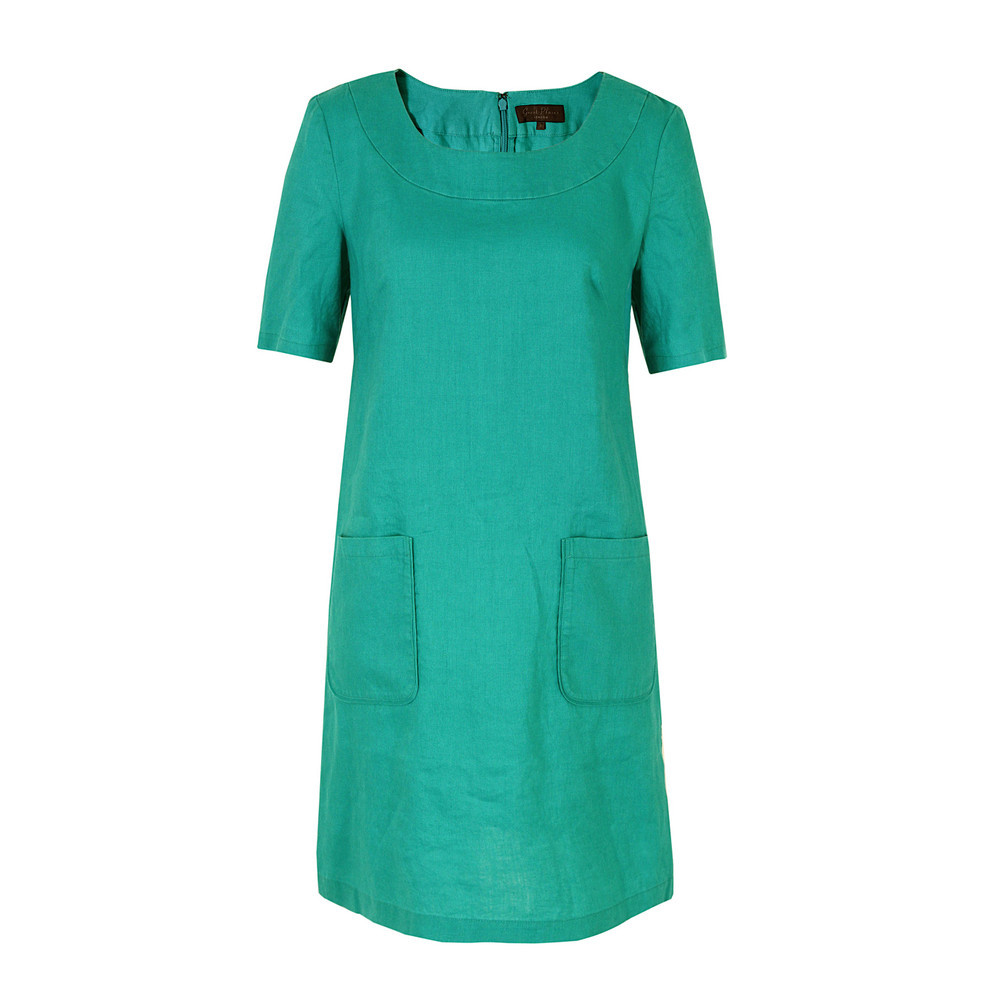 J1 Ct9 Mosaic Linen Tunic Dress - style: tunic; neckline: round neck; pattern: plain; hip detail: front pockets at hip; predominant colour: mint green; occasions: casual, holiday; length: just above the knee; fit: soft a-line; fibres: linen - 100%; sleeve length: short sleeve; sleeve style: standard; texture group: linen; pattern type: fabric; season: s/s 2013