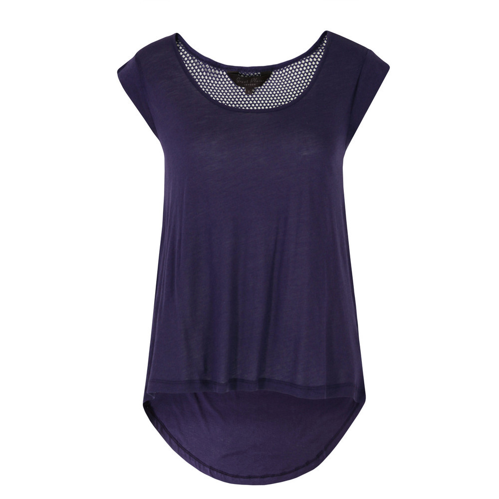 J6 Bv9 Track & Field Captain Blue Slouchy Tee - neckline: round neck; sleeve style: capped; pattern: plain; length: below the bottom; style: t-shirt; predominant colour: navy; occasions: casual; fibres: cotton - mix; fit: loose; back detail: longer hem at back than at front; sleeve length: short sleeve; pattern type: fabric; texture group: jersey - stretchy/drapey; season: s/s 2013