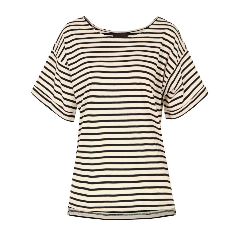 J6 Ad9 Cambridge Stripe Turn Back Pavlova & Black Top - neckline: round neck; pattern: horizontal stripes; sleeve style: kimono; style: t-shirt; occasions: casual, work; length: standard; fibres: cotton - 100%; fit: loose; sleeve length: short sleeve; predominant colour: monochrome; pattern type: fabric; pattern size: standard; texture group: jersey - stretchy/drapey; season: s/s 2013