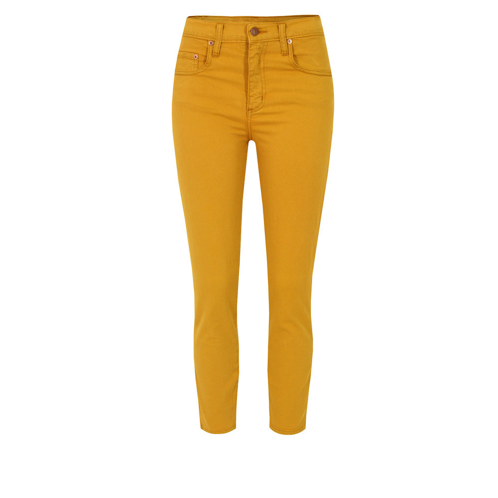 Cult Crop Honey Jeans - style: skinny leg; pattern: plain; pocket detail: small back pockets, pockets at the sides, traditional 5 pocket; waist: high rise; predominant colour: mustard; occasions: casual, evening; length: ankle length; fibres: cotton - stretch; texture group: denim; pattern type: fabric; season: s/s 2013; pattern size: standard (bottom)