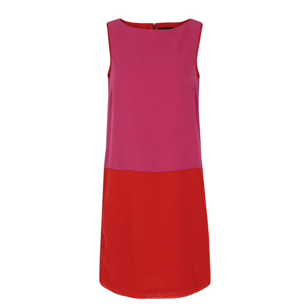 J1 Cc9 Milkwood Block Dolly Pink & Balloon Red Contrast Dress - style: shift; neckline: slash/boat neckline; sleeve style: sleeveless; predominant colour: hot pink; occasions: evening, creative work; length: just above the knee; fit: soft a-line; fibres: polyester/polyamide - 100%; hip detail: contrast fabric/print detail at hip; sleeve length: sleeveless; texture group: crepes; pattern type: fabric; pattern size: standard; pattern: colourblock; season: s/s 2013