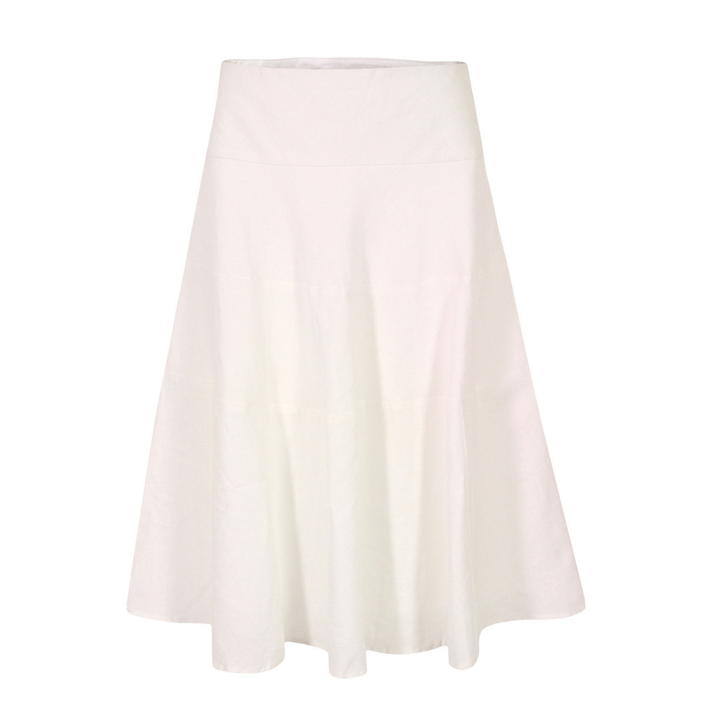 J3 Bg9 Sandbanks White Linen Tiered Skirt - length: below the knee; pattern: plain; fit: loose/voluminous; waist detail: fitted waist; waist: high rise; predominant colour: white; occasions: casual, holiday; style: a-line; fibres: linen - 100%; hip detail: structured pleats at hip, soft pleats at hip/draping at hip/flared at hip; texture group: cotton feel fabrics; pattern type: fabric; season: s/s 2013