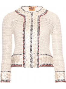 Donovan Embellished Crochet Knit Jacket - pattern: plain; style: single breasted blazer; collar: round collar/collarless; fit: slim fit; predominant colour: ivory/cream; secondary colour: navy; occasions: casual, evening, work, occasion; length: standard; fibres: linen - 100%; sleeve length: long sleeve; sleeve style: standard; collar break: high; pattern type: fabric; pattern size: light/subtle; texture group: tweed - light/midweight; embellishment: beading; season: s/s 2013