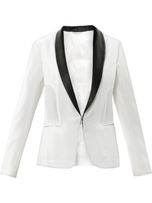 Silver Leather Lapel Blazer - style: single breasted tuxedo; collar: shawl/waterfall; predominant colour: ivory/cream; secondary colour: black; occasions: evening, occasion; length: standard; fit: tailored/fitted; back detail: back vent/flap at back; sleeve length: long sleeve; sleeve style: standard; texture group: crepes; trends: tuxedo; collar break: low/open; pattern type: fabric; pattern size: light/subtle; pattern: colourblock; fibres: viscose/rayon - mix; season: s/s 2013