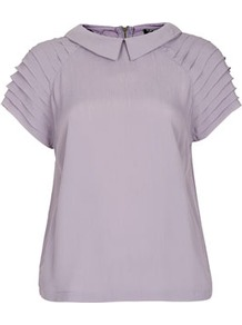 Pleat Sleeve Detail Tee - sleeve style: dolman/batwing; pattern: plain; predominant colour: lilac; occasions: casual, evening, work, holiday; length: standard; style: top; fibres: polyester/polyamide - mix; fit: loose; neckline: no opening/shirt collar/peter pan; shoulder detail: flat/draping pleats/ruching/gathering at shoulder; sleeve length: short sleeve; texture group: sheer fabrics/chiffon/organza etc.; pattern type: fabric; pattern size: standard; season: s/s 2013