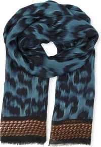 Leopard Print Modal Scarf - predominant colour: denim; secondary colour: black; occasions: casual, work; type of pattern: standard; style: regular; size: large; material: fabric; pattern: animal print; season: s/s 2013