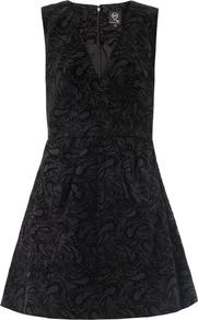 Flocked Paisley Dress - length: mid thigh; neckline: low v-neck; sleeve style: sleeveless; pattern: paisley; waist detail: twist front waist detail/nipped in at waist on one side/soft pleats/draping/ruching/gathering waist detail; predominant colour: black; occasions: evening, occasion; fit: fitted at waist & bust; style: fit & flare; fibres: cotton - 100%; sleeve length: sleeveless; trends: volume; pattern type: fabric; pattern size: standard; texture group: brocade/jacquard; season: s/s 2013