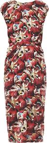 Aspara Tulip Print Dress - style: shift; length: below the knee; neckline: round neck; fit: fitted at waist; back detail: back revealing; occasions: evening, occasion; fibres: viscose/rayon - 100%; shoulder detail: subtle shoulder detail; predominant colour: multicoloured; sleeve length: short sleeve; sleeve style: standard; texture group: silky - light; trends: high impact florals; pattern type: fabric; pattern size: big & busy; pattern: florals; season: s/s 2013