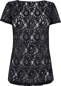 Fitted Lace T Shirt, Navy - neckline: slash/boat neckline; predominant colour: navy; occasions: casual, evening, work, occasion; length: standard; style: top; fibres: polyester/polyamide - mix; fit: straight cut; sleeve length: short sleeve; sleeve style: standard; texture group: lace; pattern type: fabric; pattern: patterned/print; season: s/s 2013
