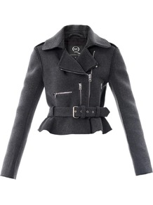 Peplum Biker Jacket - pattern: plain; style: biker; collar: asymmetric biker; predominant colour: charcoal; occasions: casual, evening, work; length: standard; fit: tailored/fitted; fibres: wool - mix; waist detail: peplum detail at waist; sleeve length: long sleeve; sleeve style: standard; collar break: medium; pattern type: fabric; texture group: woven light midweight; season: s/s 2013