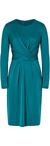 Silk Jersey Twisted Bodice Dress In Petrol - style: shift; pattern: plain; waist detail: twist front waist detail/nipped in at waist on one side/soft pleats/draping/ruching/gathering waist detail; predominant colour: teal; occasions: evening, occasion; length: just above the knee; fit: body skimming; fibres: silk - 100%; neckline: crew; sleeve length: long sleeve; sleeve style: standard; pattern type: fabric; texture group: jersey - stretchy/drapey; season: s/s 2013