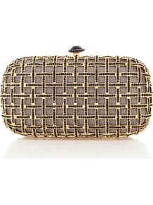 Ebony Clutch - secondary colour: taupe; predominant colour: gold; occasions: evening, occasion; type of pattern: light; style: clutch; length: hand carry; size: small; material: fabric; pattern: plain; finish: metallic; embellishment: jewels/stone; season: s/s 2013
