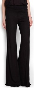 Wavy Hems Palazzo Trousers - length: standard; pattern: plain; style: palazzo; waist: mid/regular rise; predominant colour: black; occasions: casual, evening, work; fibres: viscose/rayon - 100%; texture group: cotton feel fabrics; trends: volume; fit: wide leg; season: s/s 2013