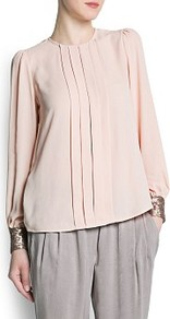 Sequined Pleated Blouse - pattern: plain; style: blouse; bust detail: ruching/gathering/draping/layers/pintuck pleats at bust; predominant colour: blush; occasions: casual, evening, work; length: standard; fibres: polyester/polyamide - 100%; fit: straight cut; neckline: crew; sleeve length: long sleeve; sleeve style: standard; texture group: sheer fabrics/chiffon/organza etc.; pattern type: fabric; embellishment: sequins; season: s/s 2013