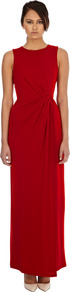 Twist Front Maxi Dress - pattern: plain; sleeve style: sleeveless; style: maxi dress; waist detail: flattering waist detail; predominant colour: true red; occasions: evening, occasion; length: floor length; fit: body skimming; fibres: polyester/polyamide - 100%; neckline: crew; sleeve length: sleeveless; pattern type: fabric; texture group: jersey - stretchy/drapey; season: s/s 2013