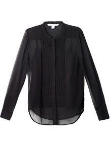 Esmely Blouse - neckline: mandarin; pattern: plain; style: blouse; bust detail: subtle bust detail; predominant colour: black; occasions: evening, work; length: standard; fibres: silk - 100%; fit: straight cut; back detail: longer hem at back than at front; sleeve length: long sleeve; sleeve style: standard; texture group: sheer fabrics/chiffon/organza etc.; pattern type: fabric; season: s/s 2013