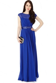 Lori Lee Maxi Dress. - neckline: slash/boat neckline; sleeve style: capped; fit: fitted at waist; pattern: plain; style: maxi dress; waist detail: embellishment at waist/feature waistband; predominant colour: royal blue; occasions: evening, occasion; length: floor length; fibres: polyester/polyamide - 100%; hip detail: soft pleats at hip/draping at hip/flared at hip; sleeve length: sleeveless; texture group: sheer fabrics/chiffon/organza etc.; pattern type: fabric; embellishment: jewels/stone; season: s/s 2013