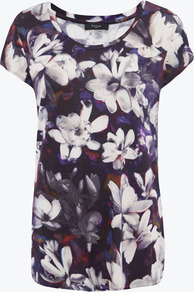 Purple Magnolia Print T Shirt Size - neckline: round neck; style: t-shirt; occasions: casual, holiday; length: standard; fibres: cotton - stretch; fit: body skimming; predominant colour: multicoloured; sleeve length: short sleeve; sleeve style: standard; trends: high impact florals; pattern type: fabric; pattern: florals; texture group: jersey - stretchy/drapey; season: s/s 2013; pattern size: big & busy (top)