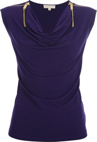 Sleeveless Zip Top - neckline: cowl/draped neck; sleeve style: capped; pattern: plain; predominant colour: navy; occasions: casual, evening; length: standard; style: top; fibres: polyester/polyamide - stretch; fit: body skimming; shoulder detail: added shoulder detail; sleeve length: short sleeve; texture group: jersey - stretchy/drapey; season: s/s 2013
