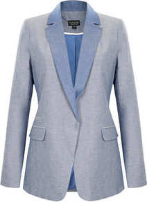 Chambray Blazer - pattern: plain; style: single breasted blazer; length: below the bottom; collar: standard lapel/rever collar; predominant colour: pale blue; occasions: casual, evening, work; fit: tailored/fitted; fibres: cotton - 100%; sleeve length: long sleeve; sleeve style: standard; texture group: cotton feel fabrics; collar break: medium; pattern type: fabric; season: s/s 2013