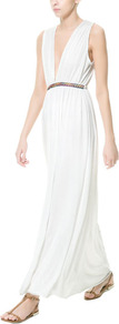 Long Grecian Dress - neckline: plunge; fit: fitted at waist; pattern: plain; sleeve style: sleeveless; length: ankle length; waist detail: belted waist/tie at waist/drawstring; bust detail: ruching/gathering/draping/layers/pintuck pleats at bust; predominant colour: white; occasions: casual, evening, holiday; fibres: polyester/polyamide - 100%; style: grecian; hip detail: soft pleats at hip/draping at hip/flared at hip; shoulder detail: flat/draping pleats/ruching/gathering at shoulder; sleeve length: sleeveless; pattern type: fabric; texture group: jersey - stretchy/drapey; season: s/s 2013