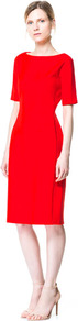 Tube Dress - style: shift; neckline: slash/boat neckline; fit: tailored/fitted; pattern: plain; hip detail: draws attention to hips; predominant colour: true red; occasions: evening, work, occasion; length: on the knee; fibres: viscose/rayon - stretch; sleeve length: half sleeve; sleeve style: standard; texture group: cotton feel fabrics; pattern type: fabric; season: s/s 2013; wardrobe: highlight