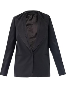 Gives This Collarless Wool Cast Shark Tux Jacket A Contemporary Finish With Raw Edged Lapels. The Masculine Structure Is Softened With A Satin Trim; Wear It Atop Skinny Jeans To Balance The Silhouette. - pattern: plain; style: single breasted blazer; length: below the bottom; collar: standard lapel/rever collar; predominant colour: black; occasions: evening, work, occasion; fit: straight cut (boxy); fibres: wool - mix; sleeve length: long sleeve; sleeve style: standard; collar break: low/open; pattern type: fabric; texture group: woven light midweight; trends: masculine feminine; season: s/s 2013