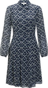Manor Print Dress, Midnight - style: shirt; neckline: shirt collar/peter pan/zip with opening; secondary colour: ivory/cream; predominant colour: navy; occasions: casual, work; length: just above the knee; fit: fitted at waist & bust; fibres: silk - 100%; hip detail: adds bulk at the hips; sleeve length: long sleeve; sleeve style: standard; pattern type: fabric; pattern size: light/subtle; pattern: patterned/print; texture group: other - light to midweight; season: s/s 2013