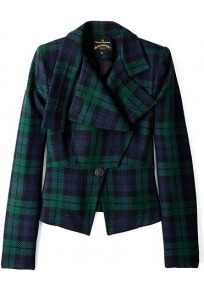 Tartan Windmill Jacket - pattern: checked/gingham; style: single breasted blazer; collar: wide lapels; predominant colour: navy; secondary colour: dark green; occasions: casual, evening, work, occasion; length: standard; fit: tailored/fitted; fibres: wool - 100%; sleeve length: 3/4 length; sleeve style: standard; collar break: medium; pattern type: fabric; pattern size: light/subtle; texture group: woven light midweight; trends: gorgeous grunge, broody brights; season: s/s 2013