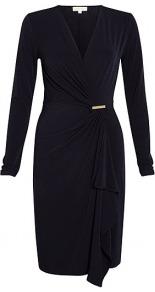 Navy Mj Long Sleeve Wrap Jersey Dress Michael Michael Kor - style: faux wrap/wrap; neckline: low v-neck; pattern: plain; waist detail: fitted waist; bust detail: ruching/gathering/draping/layers/pintuck pleats at bust; predominant colour: navy; occasions: casual, evening, work, occasion; length: just above the knee; fit: body skimming; fibres: viscose/rayon - stretch; hip detail: soft pleats at hip/draping at hip/flared at hip; sleeve length: long sleeve; sleeve style: standard; texture group: jersey - clingy; pattern type: fabric; trends: 1940's hitchcock heroines; season: s/s 2013