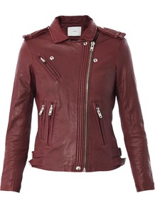 Han Leather Biker Jacket - pattern: plain; style: biker; shoulder detail: obvious epaulette; collar: asymmetric biker; predominant colour: burgundy; occasions: casual, evening; length: standard; fit: tailored/fitted; fibres: leather - 100%; sleeve length: long sleeve; sleeve style: standard; texture group: leather; collar break: high/illusion of break when open; pattern type: fabric; trends: gorgeous grunge; season: s/s 2013