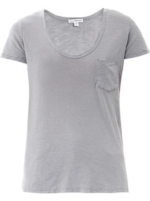 Scoop Neck T Shirt - pattern: plain; style: t-shirt; predominant colour: light grey; occasions: casual; length: standard; neckline: scoop; fibres: cotton - 100%; fit: body skimming; sleeve length: short sleeve; sleeve style: standard; pattern type: fabric; texture group: jersey - stretchy/drapey; season: s/s 2013