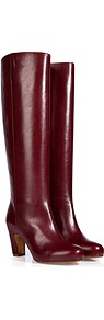 Leather Curved Heel Tall Boots In Oxblood - predominant colour: burgundy; occasions: casual, evening, work; material: leather; heel height: mid; heel: banana; toe: round toe; boot length: knee; style: standard; finish: plain; pattern: plain; trends: broody brights; season: s/s 2013