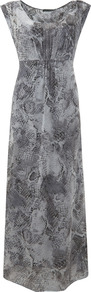 Becks Print Maxi Dress - sleeve style: capped; fit: empire; style: maxi dress; predominant colour: mid grey; occasions: casual, evening, occasion, holiday; length: floor length; neckline: scoop; fibres: viscose/rayon - 100%; sleeve length: short sleeve; texture group: sheer fabrics/chiffon/organza etc.; pattern type: fabric; pattern size: standard; pattern: animal print; trends: playful prints; season: s/s 2013