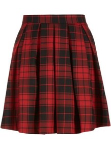 Red Tartan Skater Skirt - length: mid thigh; pattern: checked/gingham; fit: loose/voluminous; style: pleated; waist: mid/regular rise; predominant colour: true red; secondary colour: black; occasions: casual, evening; fibres: cotton - stretch; pattern type: fabric; texture group: woven light midweight; trends: gorgeous grunge; season: s/s 2013; pattern size: standard (bottom)