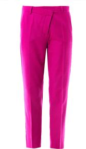 Libia Trousers - pattern: plain; waist: high rise; predominant colour: hot pink; occasions: evening, occasion; length: ankle length; fibres: wool - stretch; fit: tapered; pattern type: fabric; texture group: woven light midweight; style: standard; season: s/s 2013