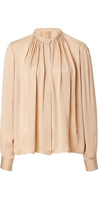 Silk Blouse In Nude - pattern: plain; neckline: high neck; style: blouse; bust detail: ruching/gathering/draping/layers/pintuck pleats at bust; predominant colour: nude; occasions: evening, work, occasion; length: standard; fibres: silk - 100%; fit: loose; sleeve length: long sleeve; sleeve style: standard; texture group: silky - light; pattern type: fabric; season: s/s 2013