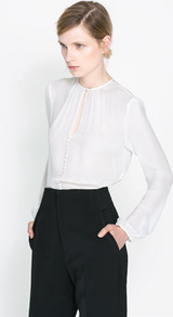 Blouse With Buttons - pattern: plain; style: blouse; predominant colour: ivory/cream; occasions: casual, evening, work, occasion; length: standard; neckline: peep hole neckline; fibres: silk - 100%; fit: body skimming; sleeve length: long sleeve; sleeve style: standard; texture group: silky - light; pattern type: fabric; season: s/s 2013