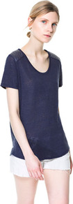 T Shirt With Quilting On The Shoulders - pattern: plain; length: below the bottom; style: t-shirt; predominant colour: navy; occasions: casual, holiday; neckline: scoop; fibres: linen - 100%; fit: body skimming; sleeve length: short sleeve; sleeve style: standard; texture group: linen; pattern type: fabric; season: s/s 2013