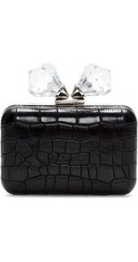 Clutch With Glass Clasp - predominant colour: black; occasions: evening, occasion; type of pattern: standard; style: clutch; length: hand carry; size: small; material: faux leather; embellishment: crystals/glass; pattern: animal print; finish: plain; secondary colour: clear; season: s/s 2013