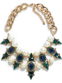 Jewel Necklace - predominant colour: emerald green; secondary colour: gold; occasions: evening, occasion; length: short; size: large/oversized; material: chain/metal; finish: plain; embellishment: crystals/glass; style: bib/statement; season: s/s 2013
