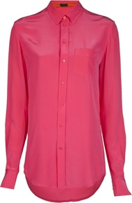'Garcon' Blouse - neckline: shirt collar/peter pan/zip with opening; pattern: plain; length: below the bottom; style: shirt; predominant colour: hot pink; occasions: casual, evening, work, occasion; fibres: silk - mix; fit: straight cut; sleeve length: long sleeve; sleeve style: standard; texture group: silky - light; pattern type: fabric; trends: broody brights; season: s/s 2013