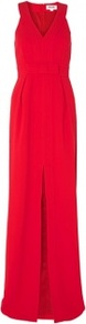 Red Long Obi Dress - neckline: low v-neck; pattern: plain; sleeve style: sleeveless; style: maxi dress; back detail: racer back/sports back; predominant colour: true red; occasions: evening, occasion; length: floor length; fit: fitted at waist & bust; fibres: polyester/polyamide - 100%; sleeve length: sleeveless; texture group: crepes; pattern type: fabric; trends: 1940's hitchcock heroines; season: s/s 2013