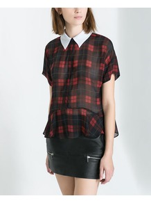 Checked Shirt With Contrasting Collar - pattern: checked/gingham; style: blouse; predominant colour: burgundy; secondary colour: black; occasions: casual, evening, work; length: standard; fibres: polyester/polyamide - 100%; fit: loose; neckline: no opening/shirt collar/peter pan; sleeve length: short sleeve; sleeve style: standard; texture group: sheer fabrics/chiffon/organza etc.; pattern type: fabric; trends: gorgeous grunge; season: s/s 2013